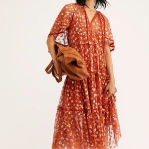 Free People Practical Magic Printed Tiered Dress S